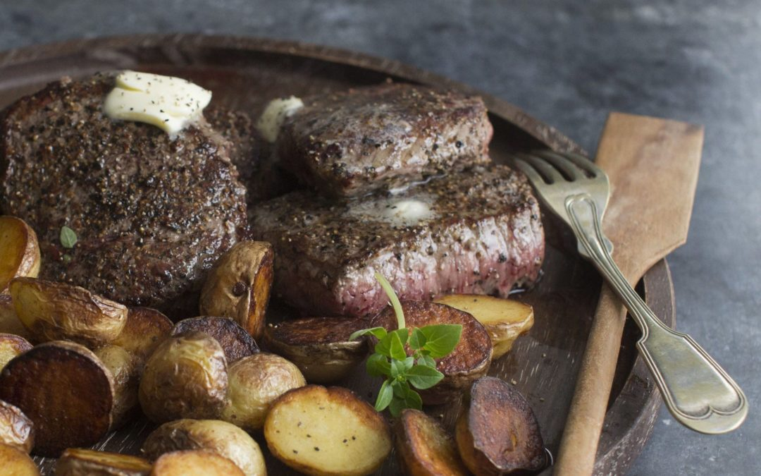 Black Pepper Truffle Butter Bison and Roasted New Potatoes