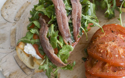 Open-Faced Anchovy Sandwich with Balsamic & Arugula